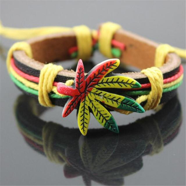 Wholesale Genuine Leather Metal Maple Jamaica Unisex Men's & Lady's Love Fashion For Women Bracelet Bangle lucky leaf men