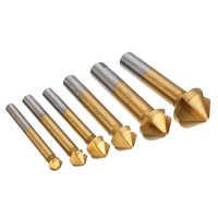 6pcs/set Metric Woodworking Countersink Drill Bit 90 Degree 3 Flute Edge Chamfer 6.3mm-20.5mm High Speed Steel Wood Drilling
