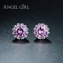 Angel Girl Trendy white gold plated Crystal CZ Diamond Jewelry Small Crown cute stud earrings For Women gift E55-60921