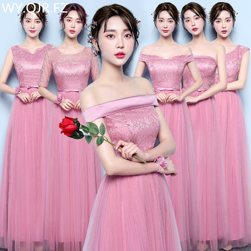 YNHS001#Bridesmaid Dresses Graduation Gown Long Dinner Dress Girl New Beanpaste Wedding Party Dress 2019 Prom Gown Fashion Women