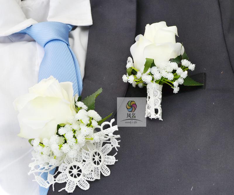 2018 À La Main Floral De Mariage Fournitures Marié Boutonnière Mariée Demoiselle D'honneur Main Poignet Fleur Blanc Artificielle Rose Fleurs Corsage