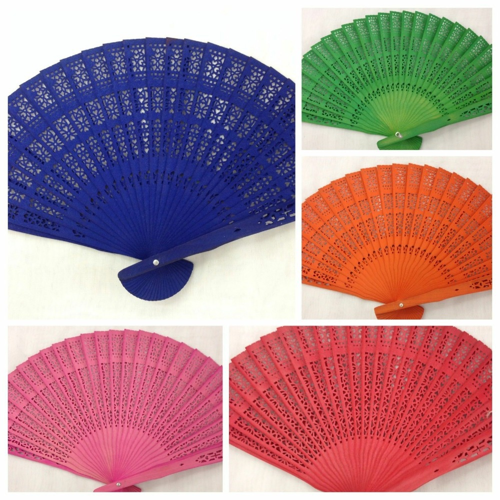 [ Fly Eagle ] 100pcs You choiceRed/white/blue/black and so on Wood Panel Hand Fan w/ Organza Bag 8'