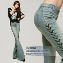 Free Shipping 2017 New Fashion Long Spring And Summer Bell-bottom Jeans Boot Cut Women Slim Long Trousers Lacing Up Flare Pants