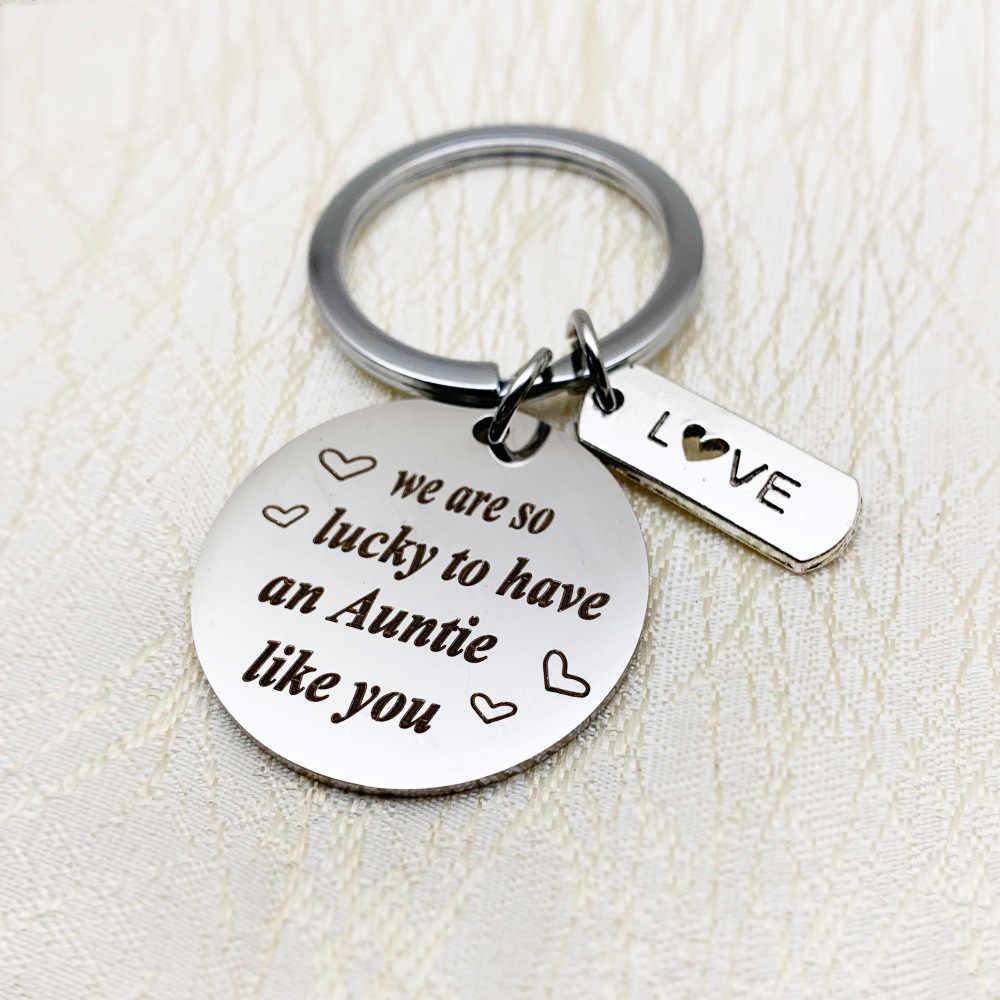 Thời trang Phụ Kiện Gia Đình Đồ Trang Sức Keychain Chúng Tôi Rất May Mắn để Có một Auntie Như Bạn Thép Không Gỉ Keyring Quà Tặng