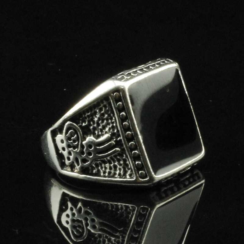 EKUSTYEE בציר חיקוי כיכר אבן טבעת שחור חצי יקר אבן טבעת החדש אופנה עתיק כסף טבעות