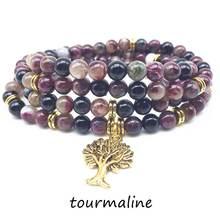 Мода мала браслеты Женское Ожерелье 100% натуральный турмалиновый
