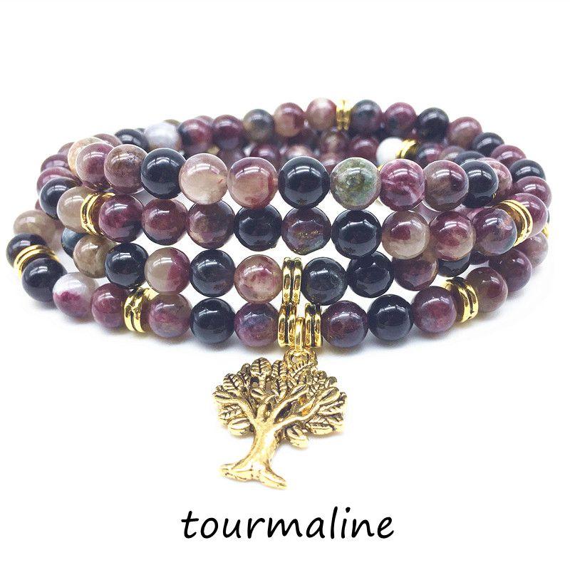 BEADZTALK Natural Mala Bracelets Necklace Tourmaline Stone Beads Elastic Charm Bangle Energy Jewelry Gold Metal Color