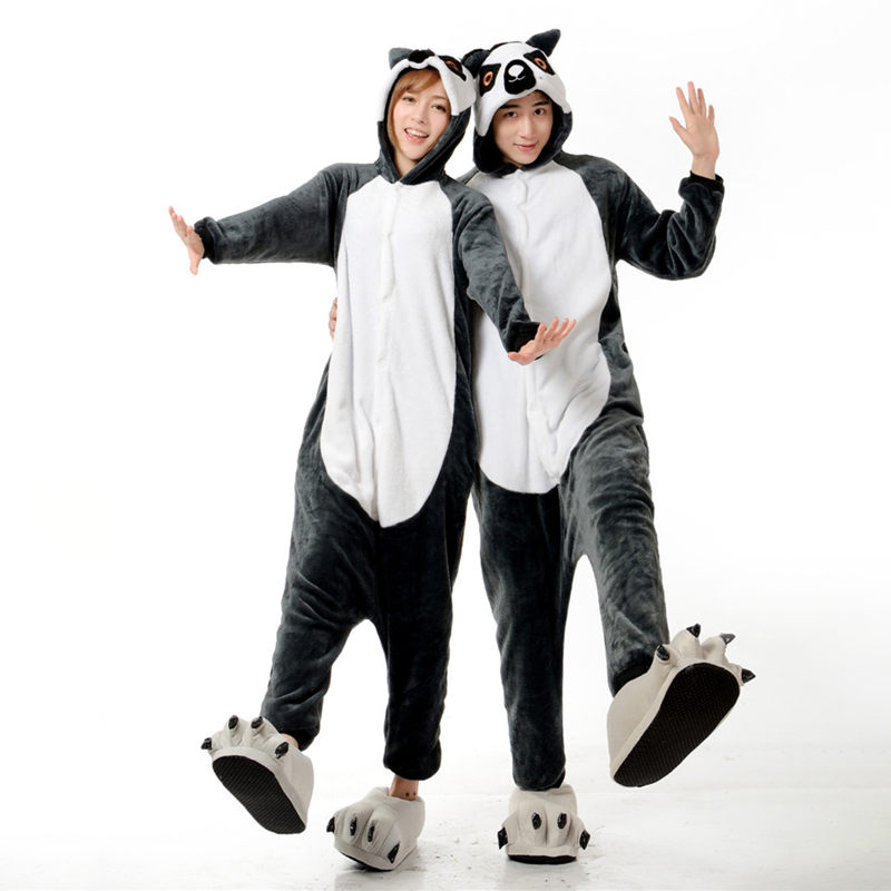 Adorable Lemur Soft Flannel Onesie Animal Adult Women Women Warm Kigurumi Pajama Overall Halloween Party Jumpsuit  Sleep Costume