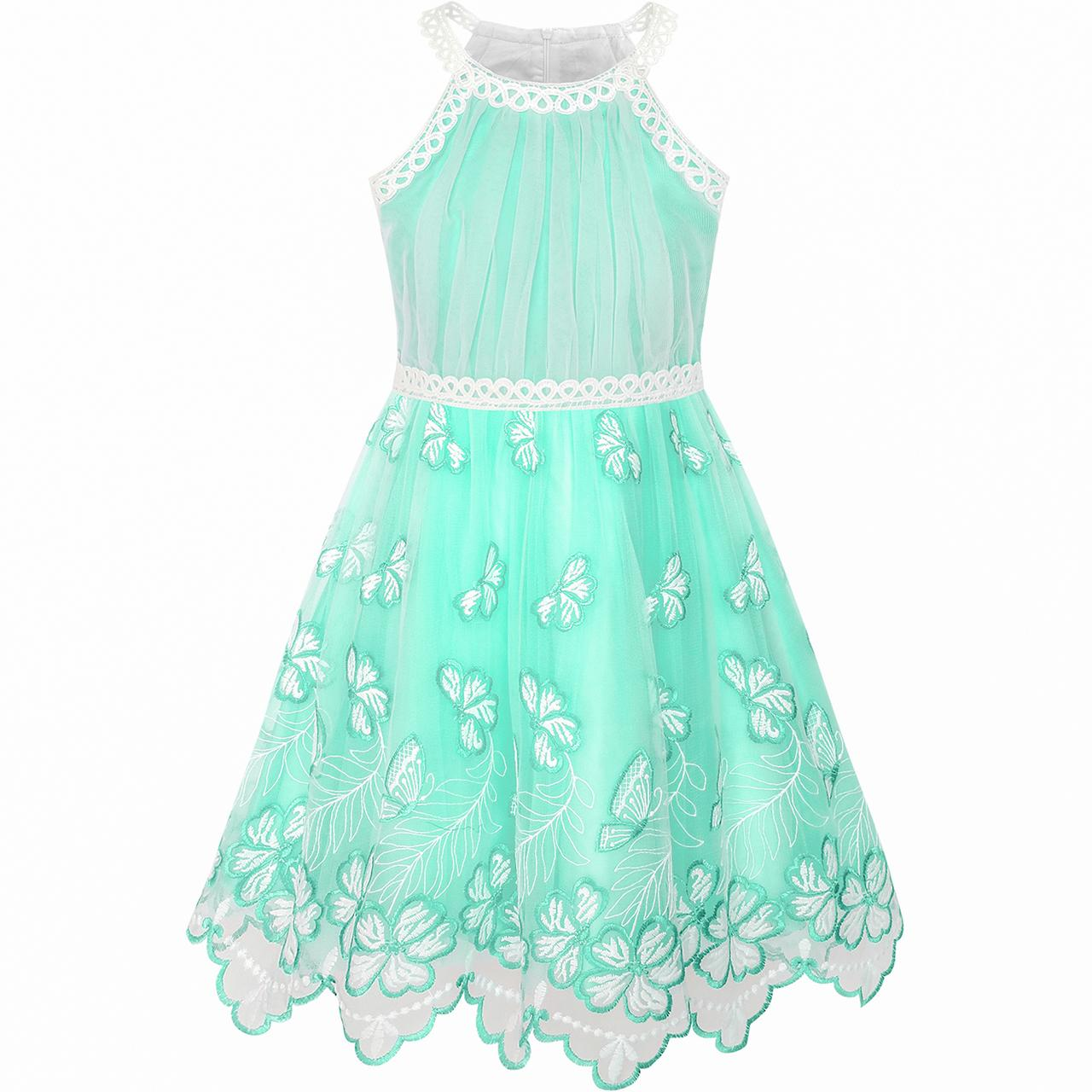 Girls Dress Turquoise Butterfly Embroidered Halter Dress Party 2020 Summer Princess Wedding Dresses Size 5-12 Carnival Vestidos