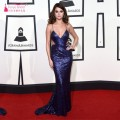 Selena Gomez Grammy Backless Evening Dress Red Carpet Celebrity Dresses Royal Blue Red Black Gold Sliver Sequins Prom Dresses