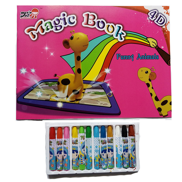 Cartoon Animal Horse 4D Magic Book Paint Learning Notebook Coloring ...