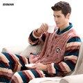 BXMAN Marca Pijama Listrado de Poliéster dos homens Novos Pijamas Hombre Casual Completo Manga Pijamas de Flanela Para Homens 82