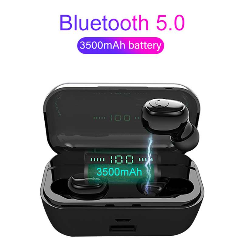 OLLIVAN Newest TWS 5.0 Bluetooth 8D Stereo Earphone Wireless Earphones Waterproof Headphones 3500mAh LED Power Bank Phone Holder