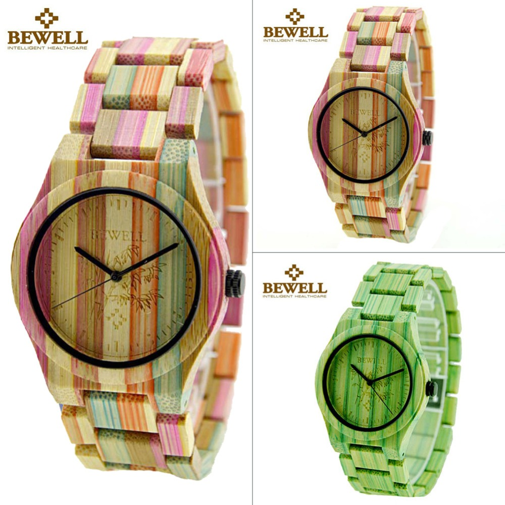 ФОТО 2017 Festival Memorial Day Gift Enmex Full Colour Bamboo Wristwatch Women work of art handmade natural wood quartz watches