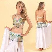 New Style Belly Dance Costume For Ladies White Fringe Bra Belt Suit Women Professional Set Feminine