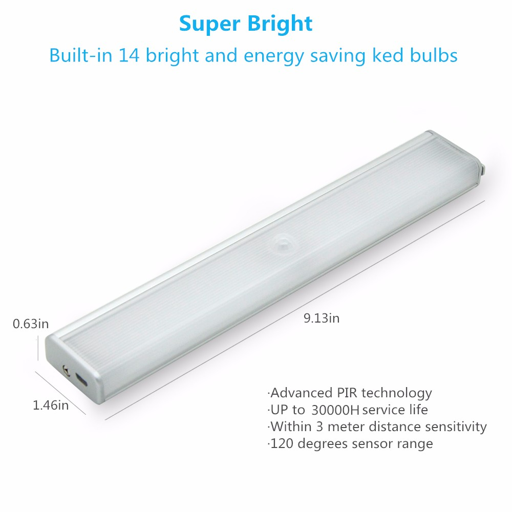 [DBF]14leds Rechargeable PIR Motion Sensor LED Night Light Lamp With For Hallway Pathway Staircase Magnetic Strip Wall Lighting (2)