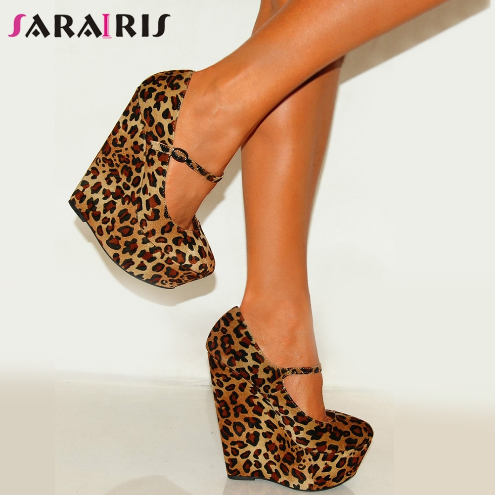 SARAIRIS Luxury Large Size 35-47 Sexy Party Leopard Women Shoes Passionate Hot High Heels Shoes Woman Pumps Wedges Shoes