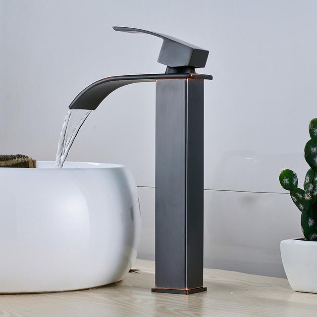 Brushed Nickel Waterfall Basin Faucet Single Lever Bathroom Vessel Sink Tap Deck Mounted Brass Lavatory sink Mixer Basin Tap