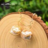 XlentAg Handmade Fresh Water Pearl Animal Drop Earrings For Women Cute Swan Dangle Earrings Funny Unique Luxury Jewelry GE0805