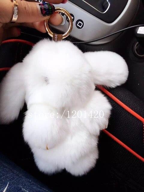 Банни брелок банни меха cham брелок сумка ошибка настоящее подлинной белый мех кролика автомобиль брелки ручной рюкзак кулон кролик кукла