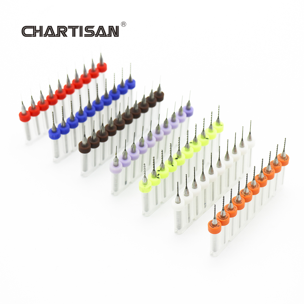 CHARTISAN 0.3-1.2mm Print Circuit Board Drill Bits, Carbide Micro Drill Bits, CNC PCB Twist Drill