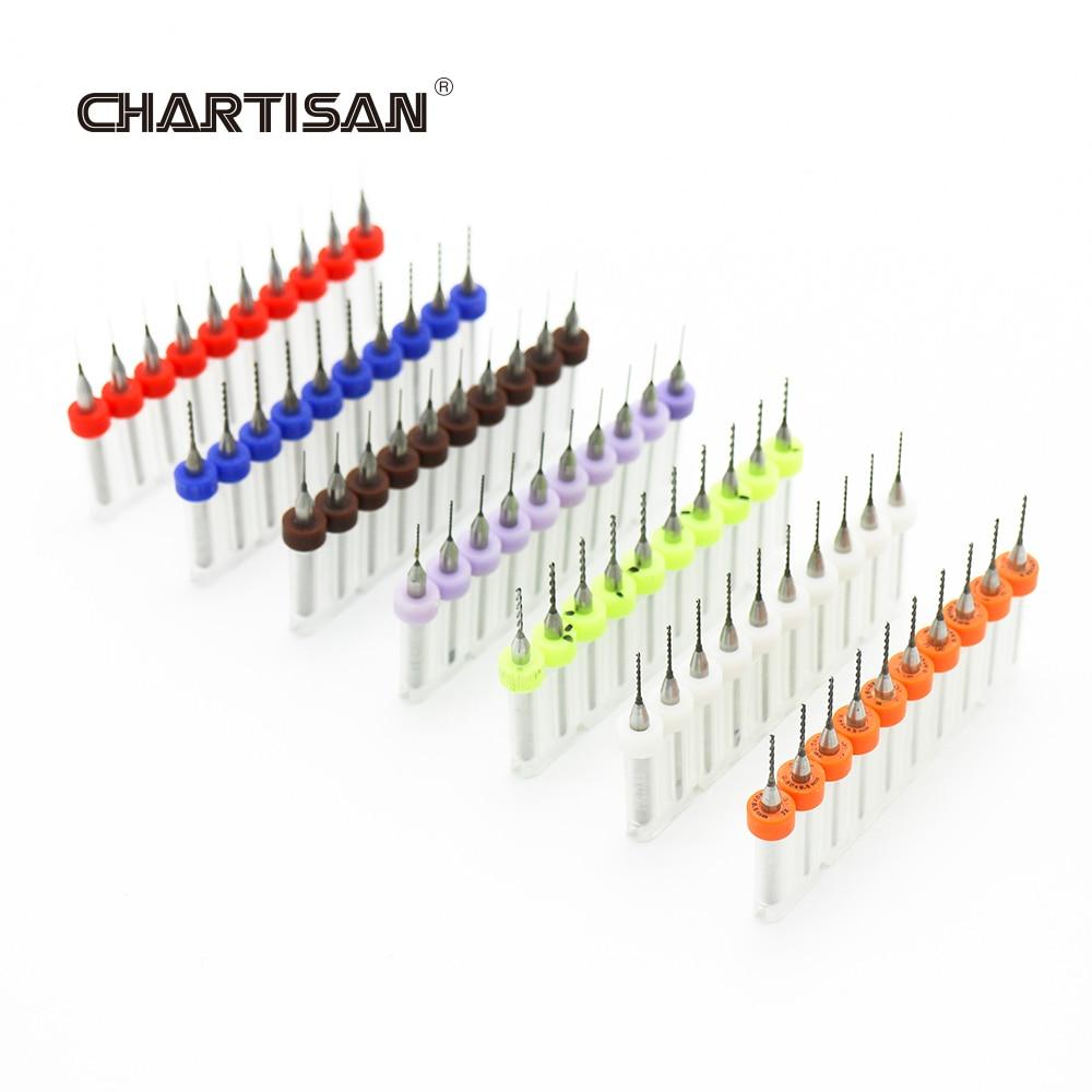 CHARTISAN 0.3-1.2mm Print Circuit Board Drill Bits, Carbide Micro Drill Bits, CNC PCB Twist Drill