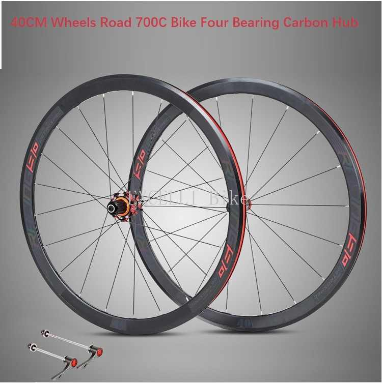 ed3850e57f2 700CC Wheels Road Bicycle V brake 40MM Carbon&Aluminium alloy 4Bearing Hub Rim  Road Bicycle Ultralight Wheelset
