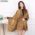 2017 Sarja De Algodão Cachecol Todo o Jogo do Lenço do Inverno Lenços Inverno Quente Lady Leopard Para Grain Projeto Condicionado Mulheres Xale Novo