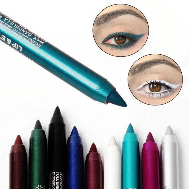 12 Color Glitter Eyeliner Pencil Long-lasting Waterproof Sexy Colorful Eyeliners Pigment Black Brown Red Eyes Makeup Pencil Tool 1