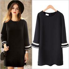 Женское свободное платье макси средней длины черное для весны