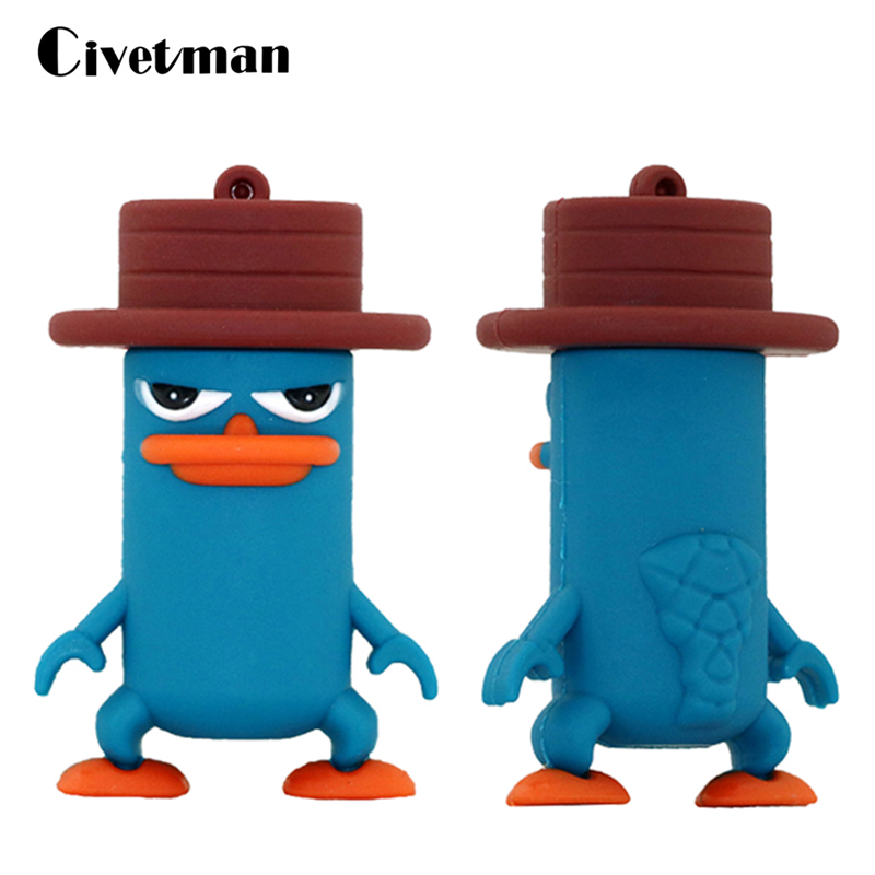 Pendrive Cartoon Animal Duckbill USB Flash Memory Stick Perry Platypus USB Device Pen Drive 64GB 32GB 16GB 8GB USB Flash Drive
