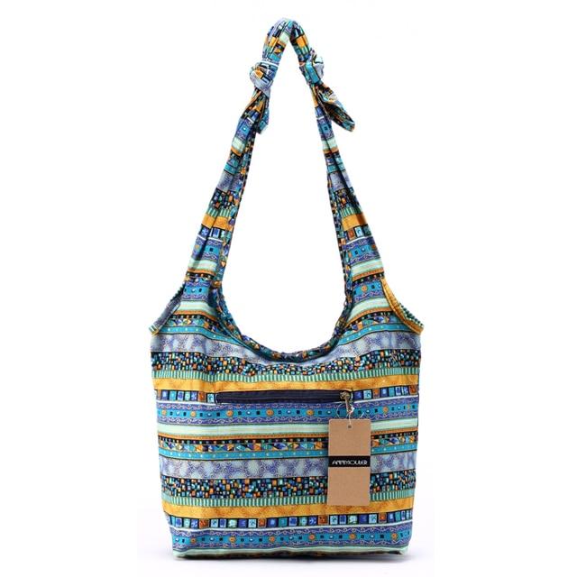 Women Messenger Bag Cotton Fabric Shoulder Bag Bohemian Chic Hobo Bag Gypsy Bag Travel Tote Sling Handbag 4
