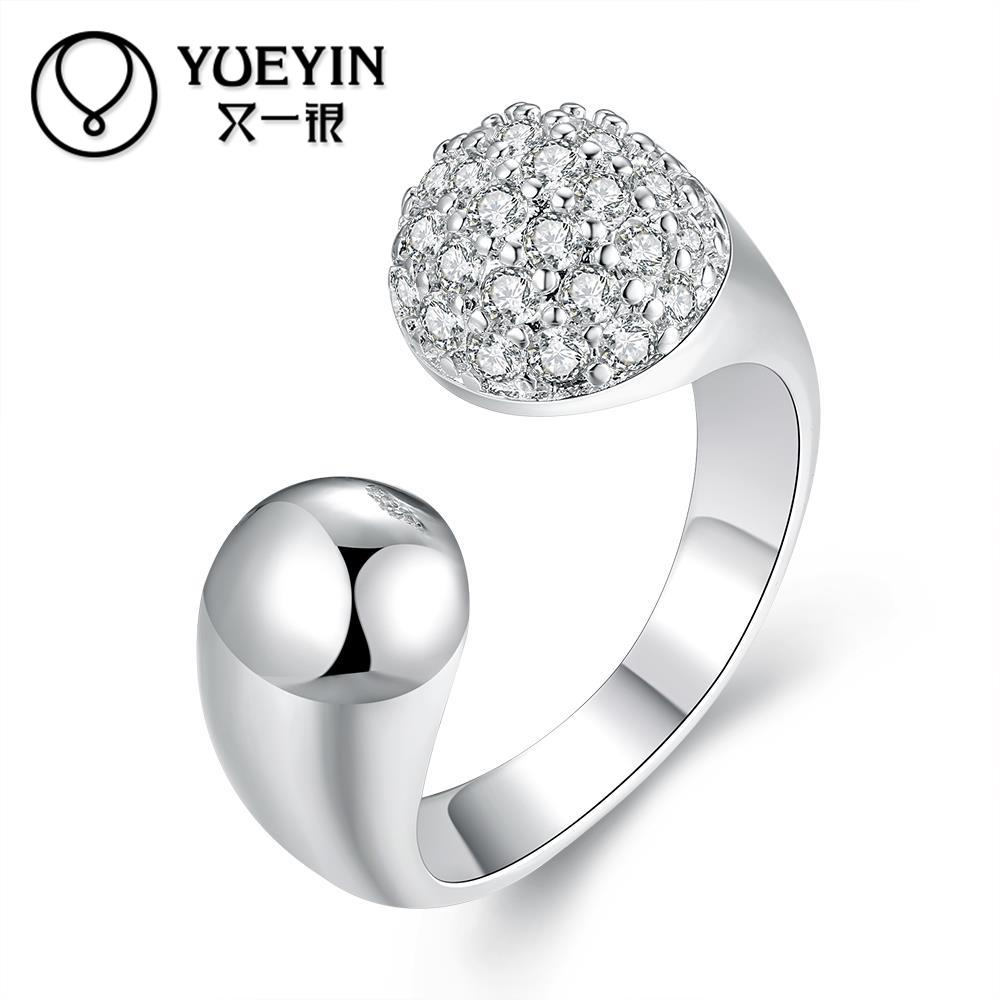New arrival trendy round style women silver rings jewelry engagement rings femal finger rings with
