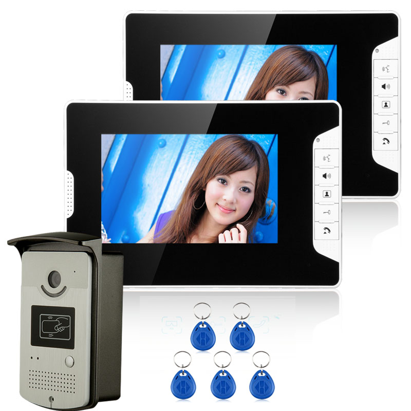 FREE SHIPPING New Wired 7 Inch Color Video Door Phone Doorbell Intercom System 1 RFID Access Camera + 2 White Monitor In Stock