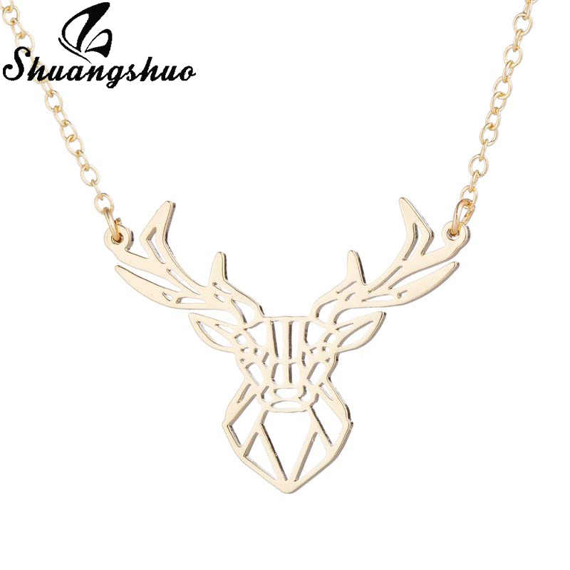 Shuangshuo Deer Origami naszyjnik dla kobiet srebrny Choker naszyjniki ze stali nierdzewnej geometryczne naszyjnik natura biżuteria dla zwierząt prezent