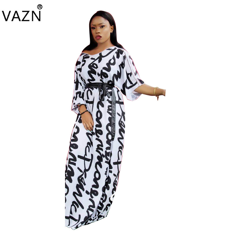 VAZN Autumn Hot Casual Fashionable Popular 2018 Women Dress Letter O-Neck Half Sleeve Lady Loose Maxi Dress Vestido SD9070