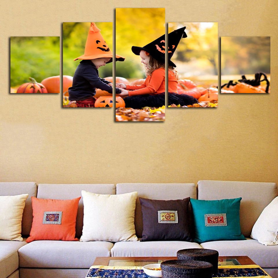 Home Decor Living Room Paintings Posters 5 Panel Baby Girls Playing ...
