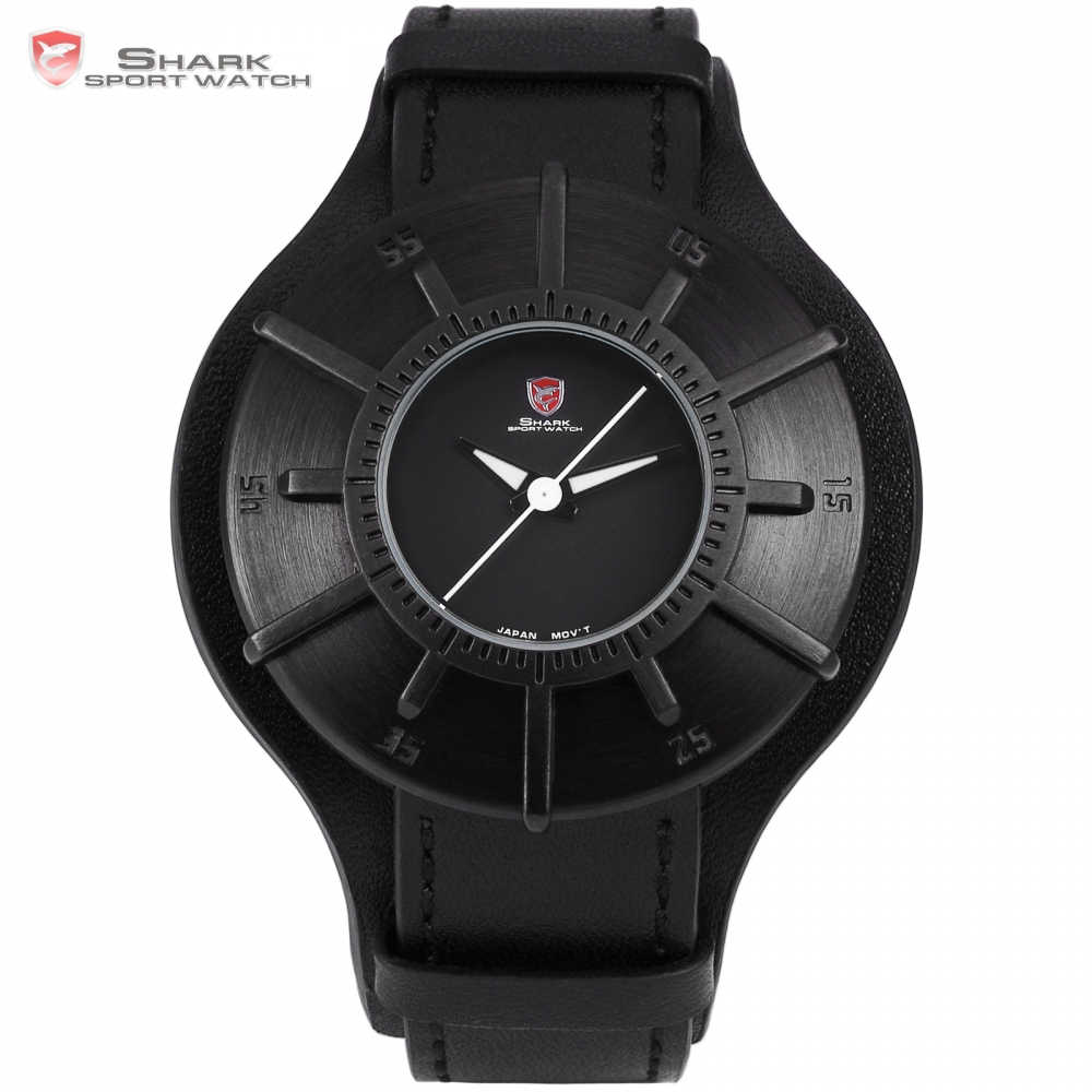 Silky Shark Sport Watch 2017 Men Watches Brand Luxury Full Black 3D Dial Military Quartz Genuine Leather Strap Male Clock /SH482 frilled shark sport watch relogio black chronograph stopwatch 3 dial leather strap clock quartz military men wrist watch sh225
