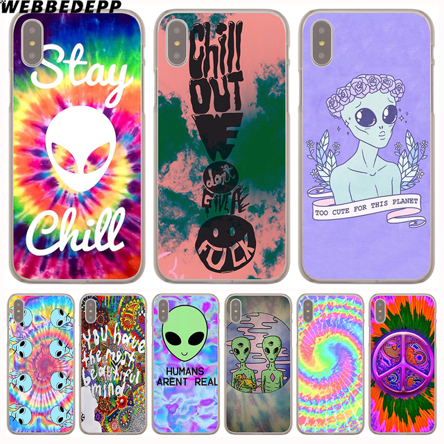 online store ae768 12558 US $1.88 6% OFF|WEBBEDEPP Trippy Tie Dye Peace sign Alien Hard Phone Case  for iPhone X XS Max XR 7 8 6S Plus 5 5S SE 5C 4 4S Cover-in Half-wrapped ...