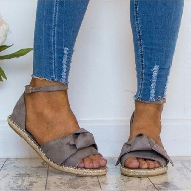 Женские сандалии Большие размеры 35–44 Туфли без каблуков босоножки 2018 женская летняя обувь открытый носок повседневная обувь на низком каблуке Sandalias Mujer черный
