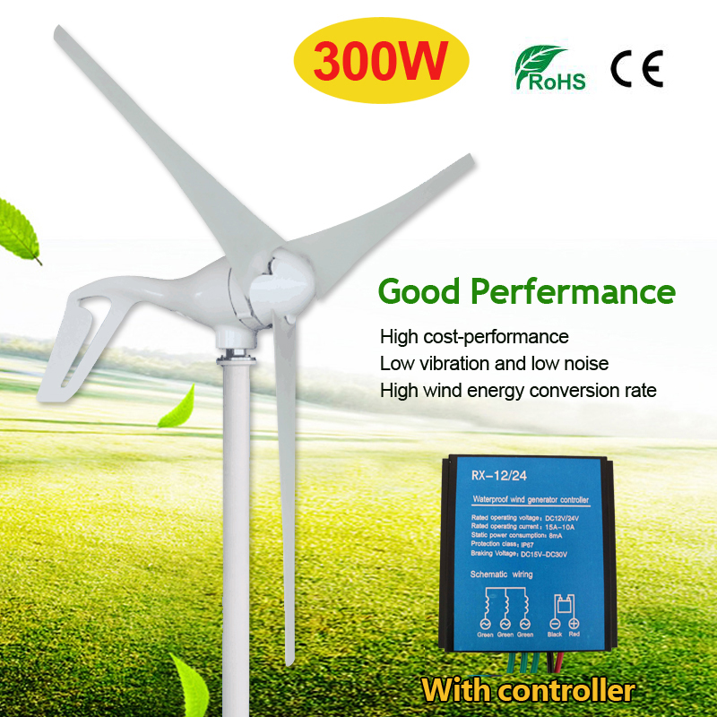 300W 12V 24 Volt 3 Nylon Fiber Blade Red Horizontal Home Wind Turbines Power Generator Windmill Energy Turbines With Controller