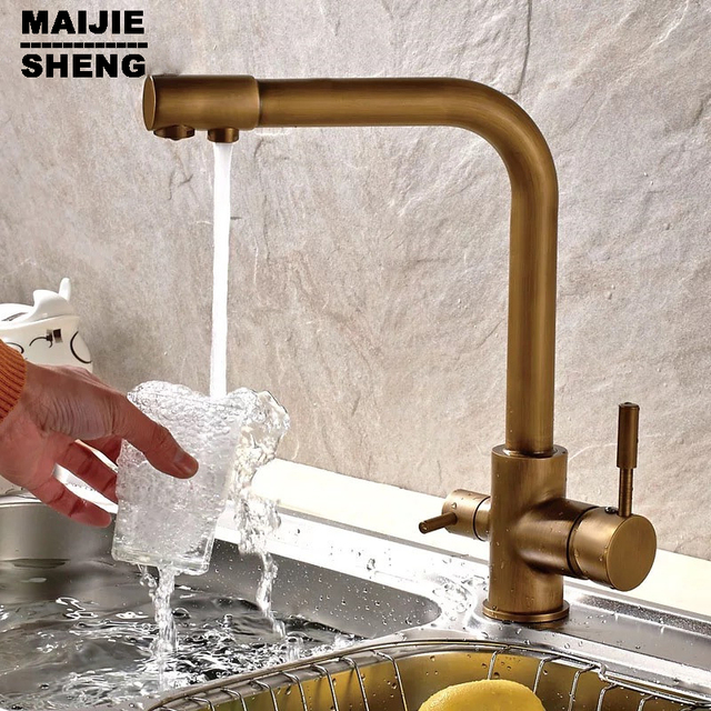Faucet 3 Way Kitchen Faucet Sink Mixer Water Kitchen Dinking Faucet Three  Way Double Function Antique