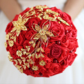 Chinese Style Red And Gold Wedding Bouquets Crystal Pearls Wedding Flowers Brooch Bouquet Miss Rose Buque De Noiva Artificial