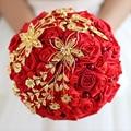 Estilo chino Rojo Y Oro de La Boda Flores Ramos de Novia De Perlas De Cristal Broche Ramo de Miss Rose Buque De Noiva Artificial
