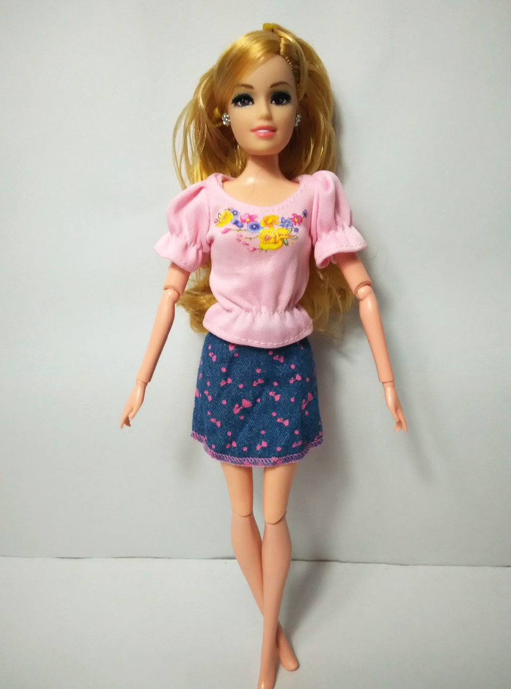 One Set Doll Skirt Cute Pattern Design Dresses Girl Fashion Evening Clothes For Barbie Dolls