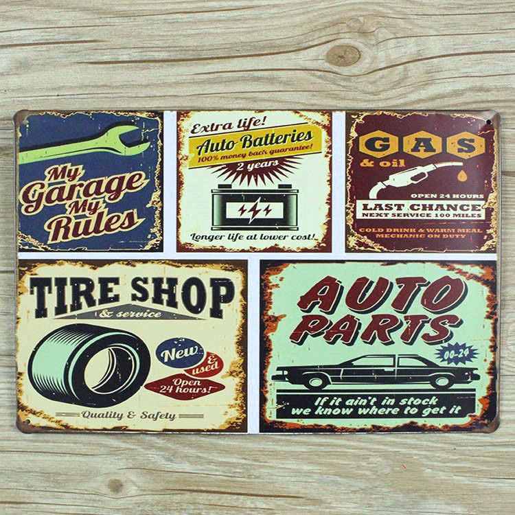 direct selling tire shop tin plate signs movie poster art cafe bar vintage metal painting wall stickers home decor 20x30 cm - Metal Signs Home Decor