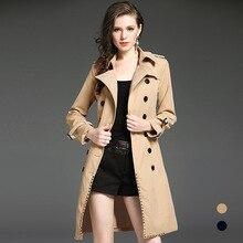 2e5b05d7768c 2018 Nouveau hiver De Luxe Tranchée Manteau pour Femmes Angleterre Style  longue Tranchée mince double boutonnage