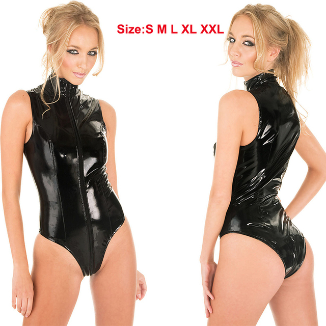 322024435e7 New Black Latex Jumpsuit Wet Look Bodycon PVC Bodysuit Faux Leather Catsuit Punk  Fetish Erotic Lingerie Sexy Club Dance Costume