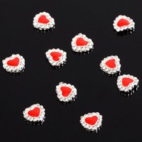 HTHL!Red Heart 10 pieces Silver 3D Alloy Nail Art Slices Glitters DIY Decorations