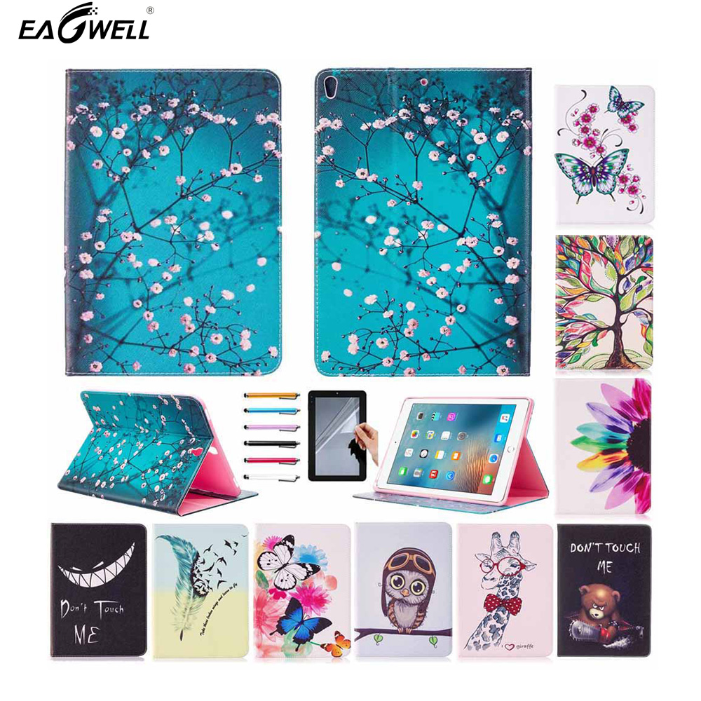 Leather Case For Apple iPad Pro 10.5 2017 Fashion Print Flip Stand Case With Card Slots Protective Shell Skin Funda Free Stylus